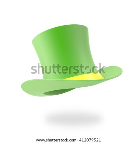 Green Top Hat, St Patricks hat. Isolated on white background. 3D illustration - stock photo