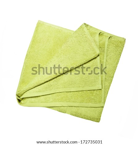 green towel isolated on white background