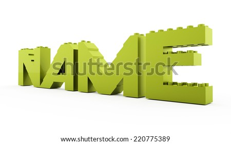 Green toy brick text isolated - NAME