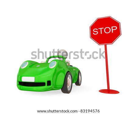 Green toy car and STOP sign. Isolated on white background. 3d rendered.
