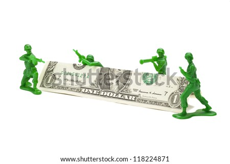 green toy soldiers - stock photo