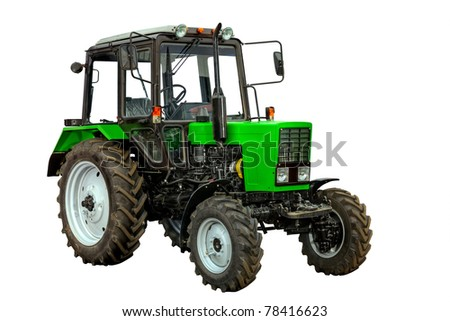 Green tractor isolated on white background. With clipping path. - stock photo