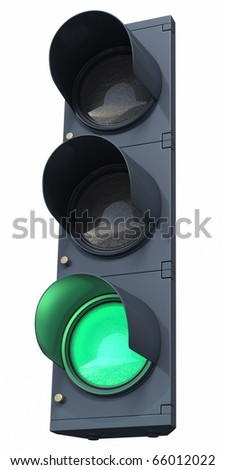green traffic light (clipping path)