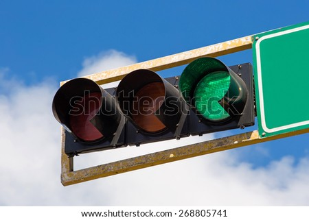 Green traffic light in the city