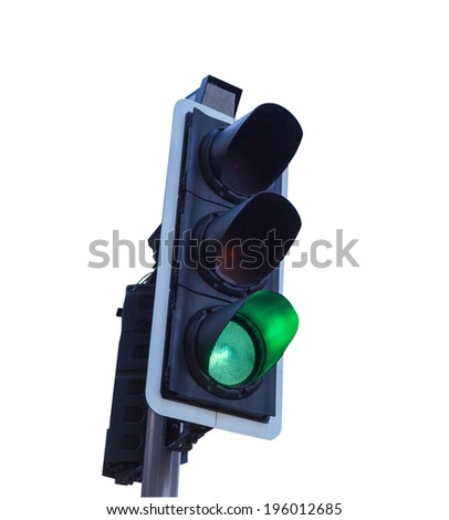 Green Traffic Light isolate with background with clipping path