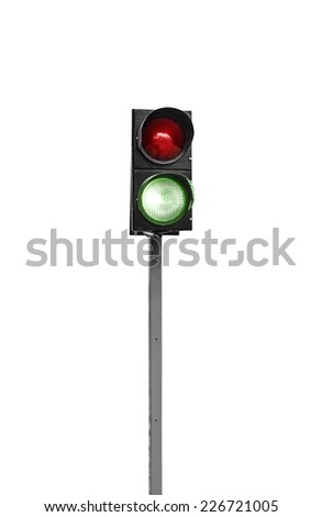 Green traffic light isolated on a white background