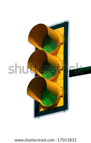 Green traffic light isolated on white. Clipping path included - stock photo