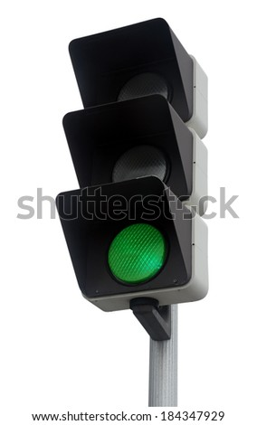 Green traffic light isolated on white. Clipping Path included. - stock photo