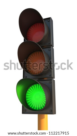 Green Traffic Light on Isolated White Background