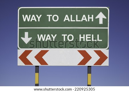 green traffic sign in front of a blue sky, horizontal arrows showing two directions and a red white road warning post. Religious concept for belief: Choose between Allah and hell. - stock photo
