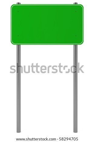 Green Traffic Sign isolated on white - 3d illustration