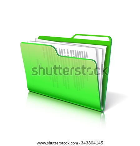 Green transparent folder with papers. Document icon.  - stock photo