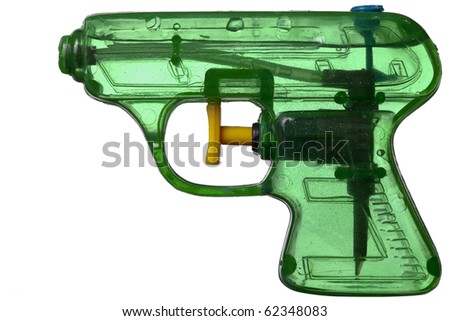 Green transparent plastic water pistol isolated on a white background - stock photo