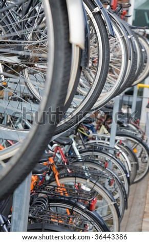 green transport - tow-tiered bike storage in Denmark