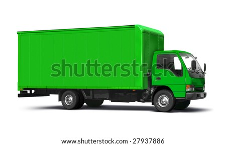 Green transport truck isolated on white.