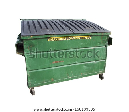 Green Trash or Recycle Dumpster Isolated On A White Background with Clipping Path. - stock photo