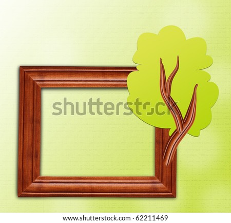 Green tree design wooden frame