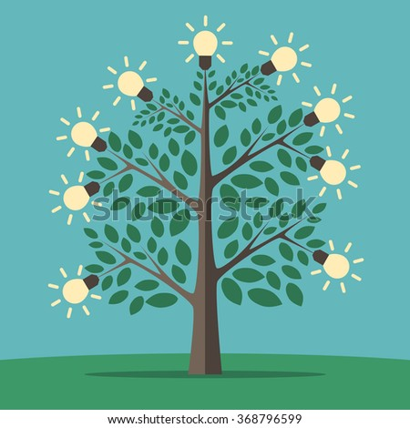 Green tree of creative ideas with glowing light yellow lightbulbs. Insight, inspiration, idea, invention and breakthrough concept. Flat style - stock photo