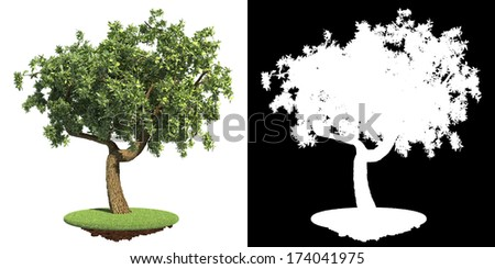 Green Tree on Green Grass island Isolated on White Background with Detail Raster Mask. - stock photo