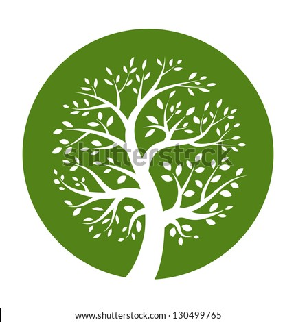 Green tree round icon, raster illustration - stock photo
