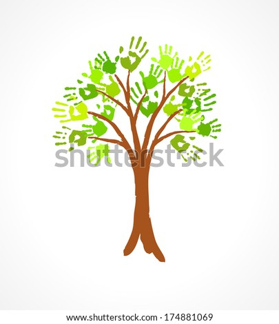 Green tree with leaves made of handprint. Eco concept for your design. - stock photo