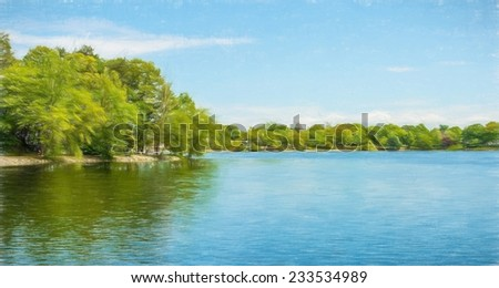 Green trees by the lake on a sunny day, with clouds on the sky with colored pencil - stock photo