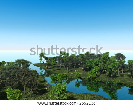 Green trees on a river side - 3d illustration. - stock photo