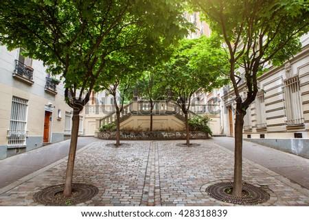 green trees on montmartre street in Paris, - stock photo