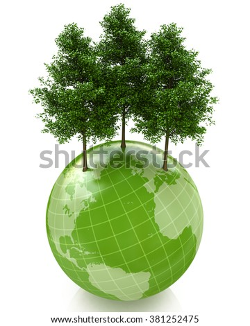 Green trees on small planet in the design of the information related to the global problems - stock photo