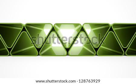 Green triangle elements on white background - stock photo