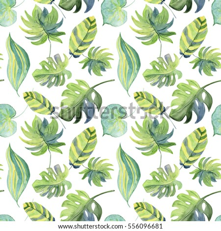 Green tropical leaves. Seamless watercolor background.
