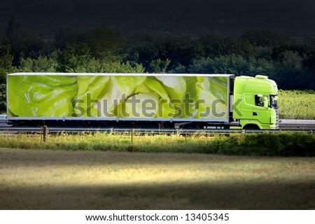 green truck - stock photo