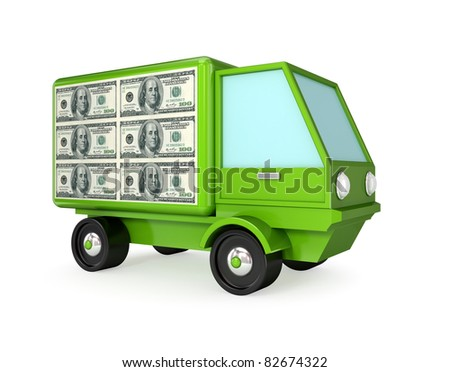 Green truck with a dollar sign on a body. 3D rendered. isolated on white background.