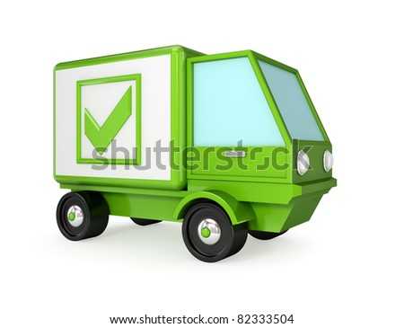 Green truck with a green tick mark. 3D rendered. Isolated on white background. - stock photo