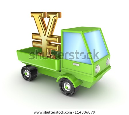 Green truck with yen symbol.Isolated on white background.3d rendered. - stock photo