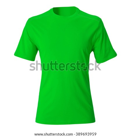 Green tshirt template isolated on white - stock photo
