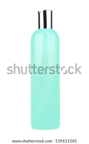 Green tube bottle of shampoo, conditioner, hair rinse, gel, on a white background with reflection. - stock photo