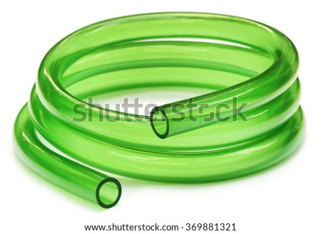 Green Tubing isolated over white background - stock photo