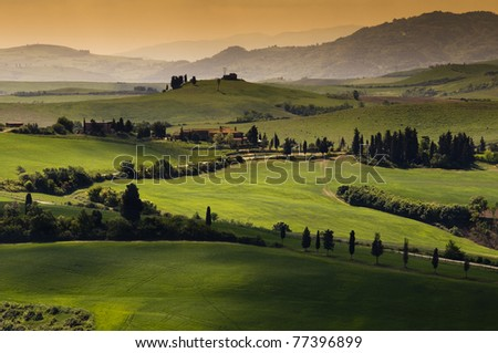 Green tuscany landscape in spring time - stock photo