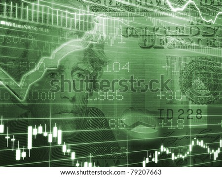 Green Twenty Dollar Bill with Stock Market Chart