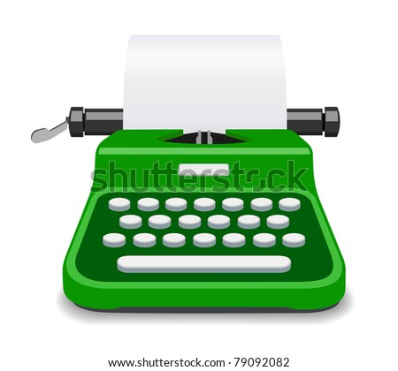 Green typewriter illustration - stock photo