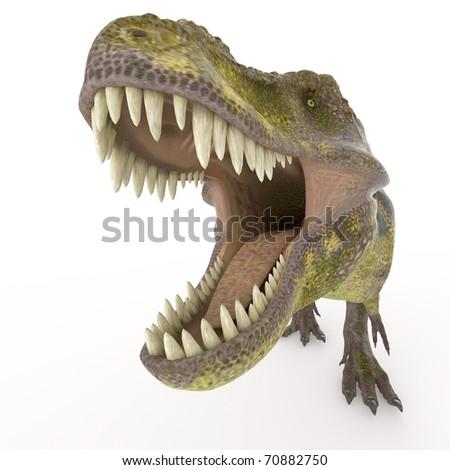 green tyrannosaurus big face zoom - stock photo