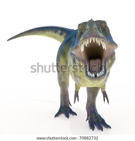 green tyrannosaurus front view - stock photo