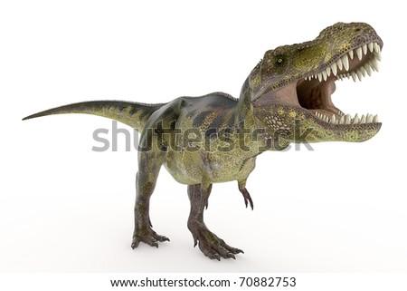 green tyrannosaurus is hungry - stock photo