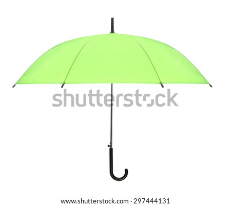 green umbrella isolated against white background