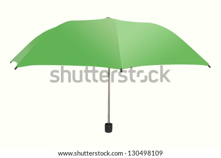green umbrella isolated on white background.