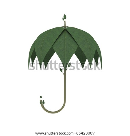 Green Umbrella made of spring leaves isolated over white background. Go green ecology concept. Environmental concept. High quality render. - stock photo