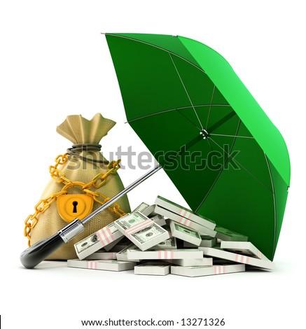 green umbrella protecting money from rain 3d illustration - stock photo
