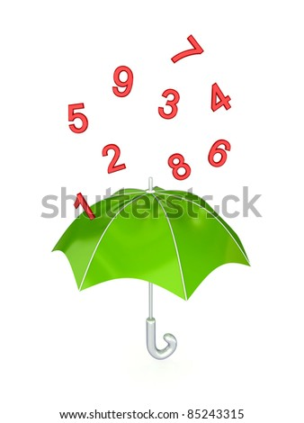 Green umbrella under the rain of red numbers. Isolated on white background. - stock photo