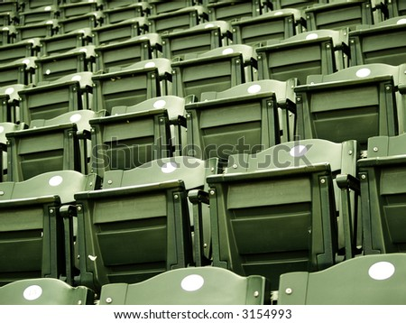 Green unused stadium seats